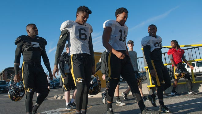 Members of the Missouri football team return to practice at Memorial Stadium at Faurot Field on Nov. 10 in Columbia, Mo. The university looks to get things back to normal after the recent protests on campus that lead to the resignation of the school's President and Chancellor on Nov. 9.