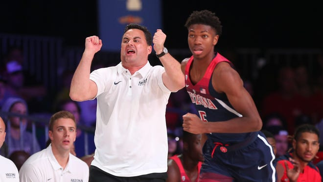 Nov 22, 2017;  Paradise Island, BAHAMAS; Arizona Wildcats head coach Sean Miller reacts during the first half against the North Carolina State Wolfpack in the 2017 Battle 4 Atlantis in Imperial Arena at the Atlantis Resort. Mandatory Credit: Kevin Jairaj-USA TODAY Sports