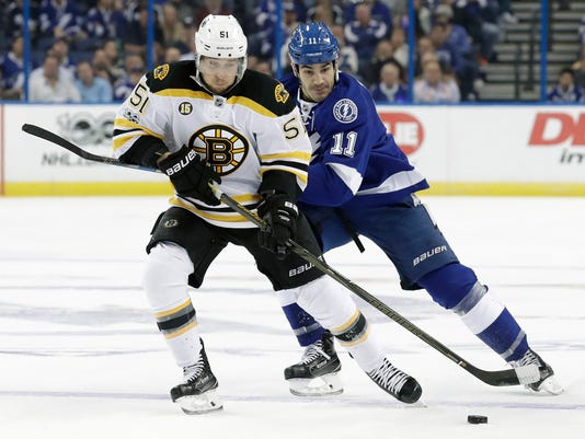 Boston Bruins center Ryan Spooner (51) skates around Tampa Bay Lightning center Brian Boyle (11) during the third period of an NHL hockey game Tuesday, Jan. 31, 2017, in Tampa, Fla. The Bruins won the game 4-3. (AP Photo/Chris O'Meara)