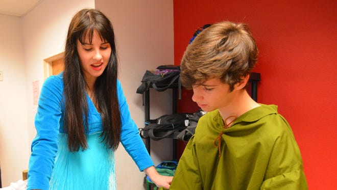 """Maggie Roub and David Benne, two of Christy Morales' advanced drama students at Satellite High School, came to Dan Doerr's 9th grade English Honors class to perform the balcony scene from """"Romeo and Juliet"""" for the class. The class is studying the play."""