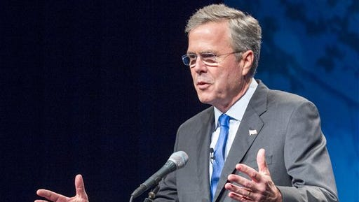 FILE - In this May 30, 2015 file photo, former Florida Gov. Jeb Bush speaks in Nashville, Tenn. Bush heads to Europe next week to check off an important box before making his campaign for president official: An overseas visit spelling out his approach to foreign affairs and demonstrating to both foreigners and voters back home that he's not his brother. (AP Photo/Erik Schelzig, File)