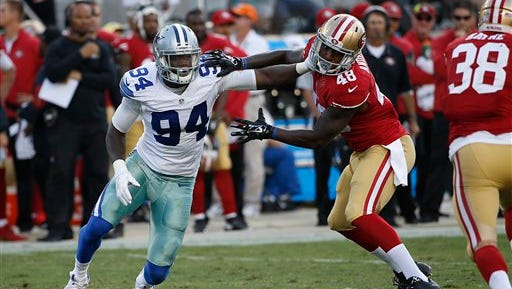 Dallas Cowboys defensive end Randy Gregory (94) has returned to the team but Jerry Jones has given no indication when or if he will play in 2016.