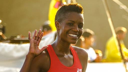 Diane Nukuri-Johnson, after winning the 2013 Bay to Breakers road race.