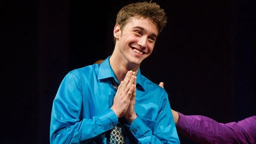 """Jimmy Award winner, Ryan McCartan is pictured onstage at The 3rd Annual National High School Theater Awards in New York. McCartan, who co-stars in ?Liv & Maddie? on the Disney Channel and ?Royal Pains? on USA, returns to the same Broadway stage where in 2011 he won the """"Glee""""-like competition for musical teenagers to host this year's National High School Musical Theater Awards."""