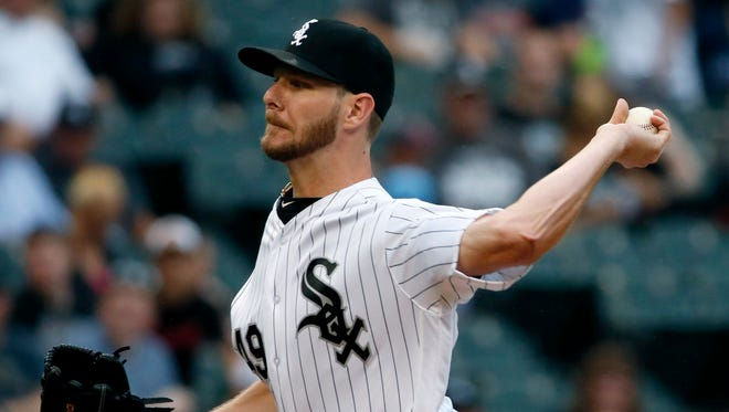 Chicago White Sox starter Chris Sale throws against the Oakland Athletics during the first inning.