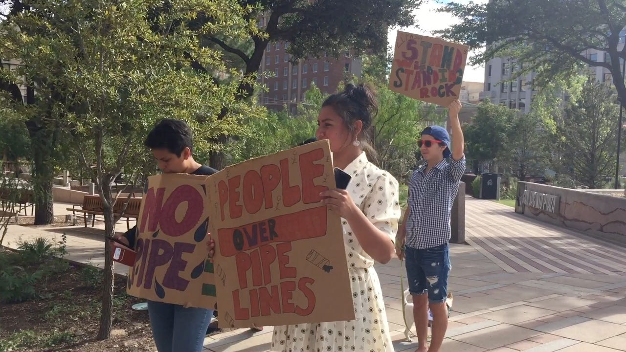 El Pasoans protest the pipeline in North Dakota and West Texas on Tuesday, Sept. 27 at San Jacinto Plaza.