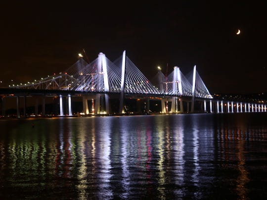 The Gov. Mario M. Cuomo Bridge was lit up several hours before the opening of the Rockland-bound lanes of the new bridge Aug. 25, 2017.