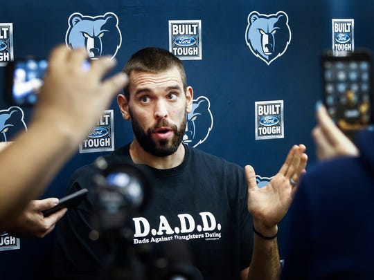 Memphis Grizzlies center Marc Gasol speaks to the media during the season wrap-up interviews at the FedExForum.