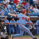 Center fielder J.B. Woodman watches his solo home run in the third inning against Vanderbilt on Thursday during the Rebels' Southeastern Conference Tournament game in Hoover, Alabama. Ole Miss beat Vanderbilt 12-9 to advance to the semifinals.