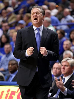 Kentucky basketball coach John Calipari gives instructions to his team during a game against Stephen F. Austin on Nov. 11, 2016 in Lexington, Kentucky.