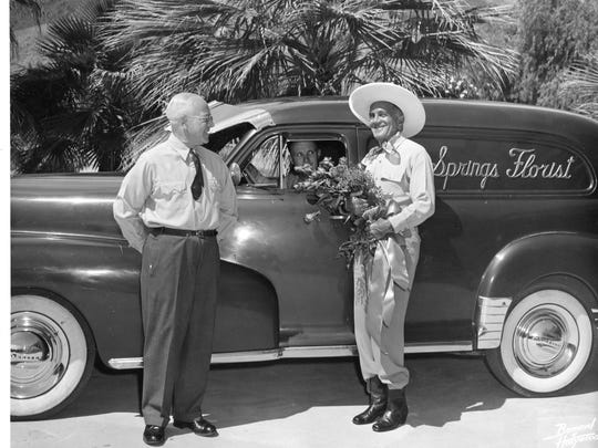 L to R: Horace Head, Earl Hall (in driver's seat) and Al Jolson in an early Palm Springs Florist photo.