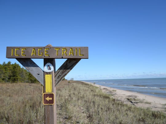 An Ice Age Trail Marker at the Point Beach Sand Dunes,