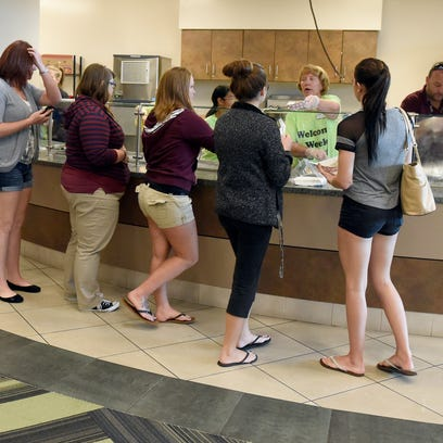 Ivy Tech students line up for breakfast during the