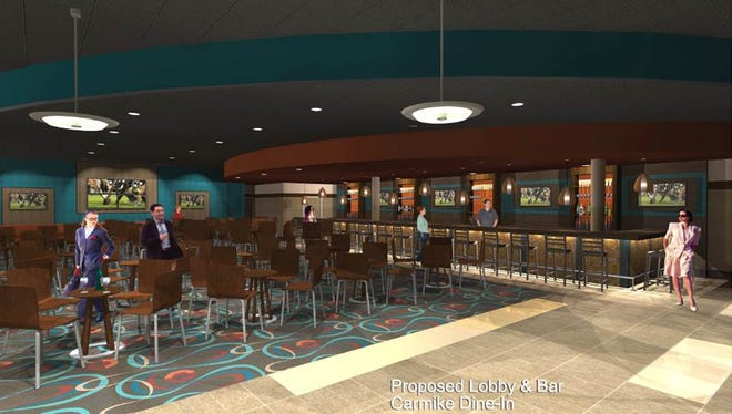 Artist rendering of the lobby and lounge area of the Carmike Ovation Cinema Grill 9.