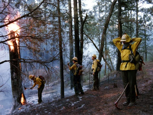 Forest Fires: Members of the Negrito Hotshots, Gila National Forest, NM, prepare for their nights work late Wednesday afternoon, May 24, 1989, at the South Fork Fire near Springerville, Ariz. The 20-man (person) crew drove in from New Mexico and spent the night felling trees and putting out the small, still smoldering fires.  They were relieved at daybreak and headed for fire camp for eats and sleep.