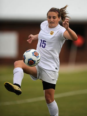 Hardin-Simmons' Kami Jones (15) passes the ball down the field during the second half of the Cowgirls' 2-0 win in the semifinals of the American Southwest Conference tournament on Friday, Nov. 4, 2016, at the HSU Soccer Complex.