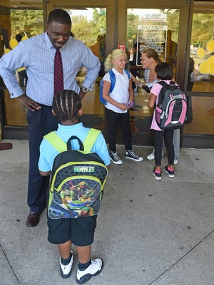 Director of Schools Dr. Shawn Joseph meets and greets students, teachers, staff, on the first day of classes at Tom Joy Elementary on Wednesday Aug. 3, 2016, in Nashville, Tenn.