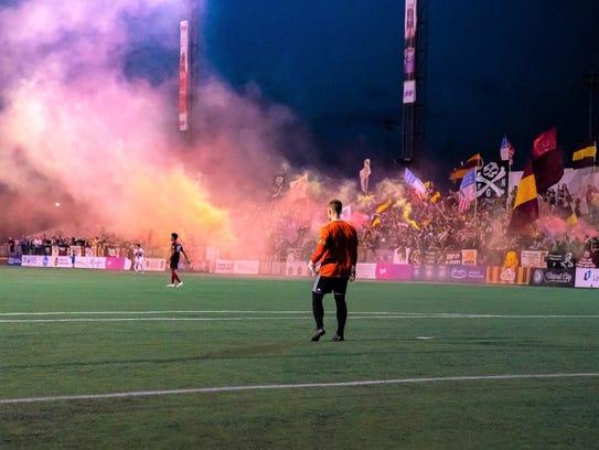Detroit City FC goalkeeper Nate Steinwascher surveys