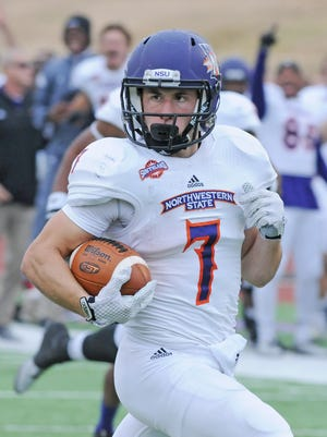 Ed Eagan (7) returns a punt 80 yards for a touchdown during Northwestern State's 27-24 loss to Stephen F. Austin last season. Eagan earned another preseason All-America accolade on Thursday.
