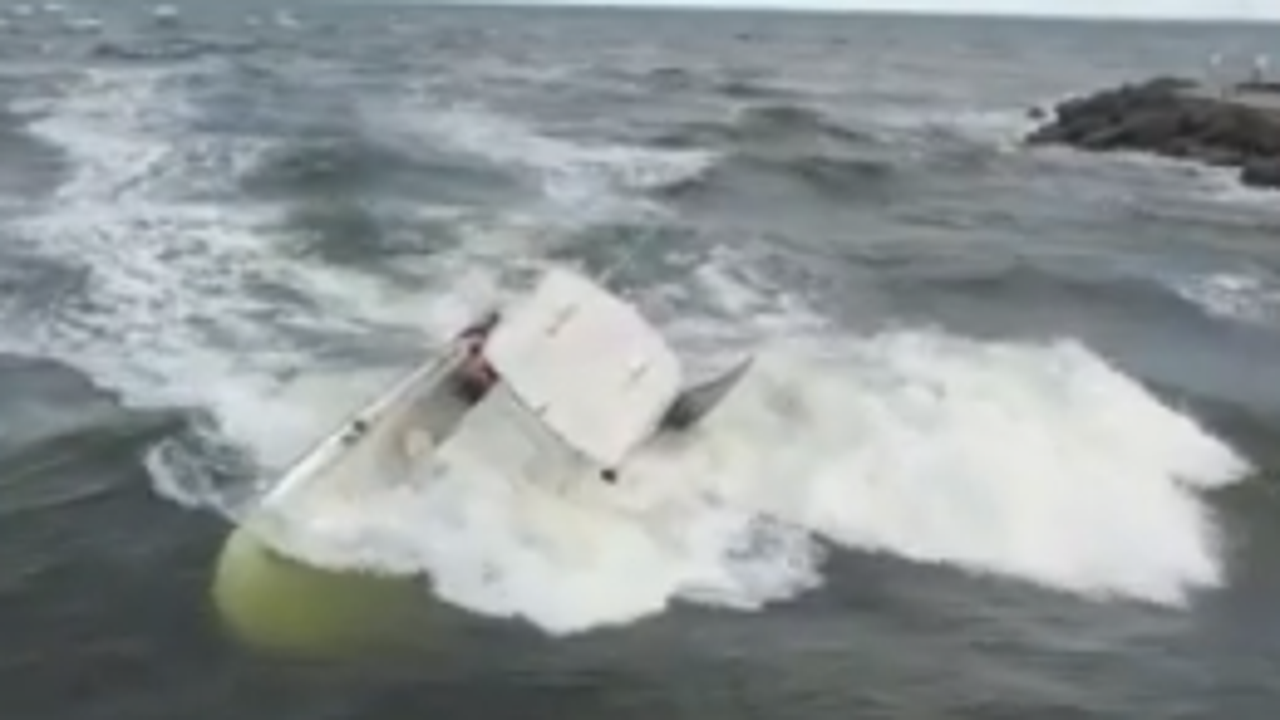 Drone video captures teen rescuing man in Jupiter Inlet as boat sank
