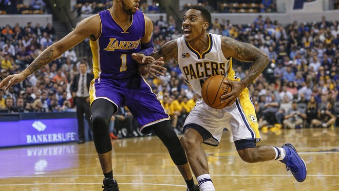 Indiana Pacers guard Jeff Teague (44) drives against Los Angeles Lakers guard D'Angelo Russell   in the first half at Bankers Life Fieldhouse on Nov. 1, 2016.