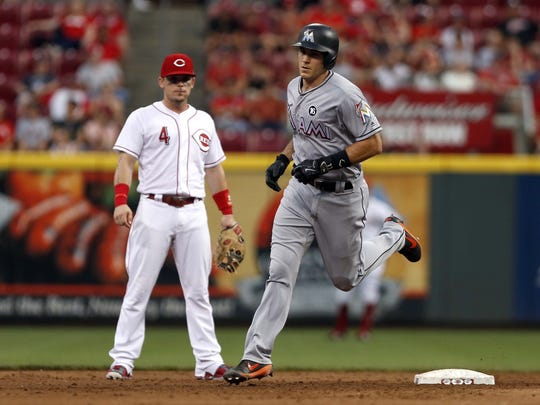 J.T. Realmuto hit two homers against Reds starter Robert Stephenson on Saturday, July 22, 2018.