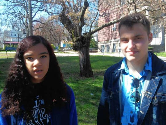 Alexis Dickerson, left, and Daniel Schapiro led the campaign for a gender-neutral bathroom at Montclair High School in 2016.