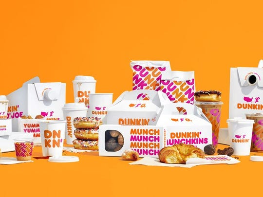 A display of updated Dunkin' Brands packaging.