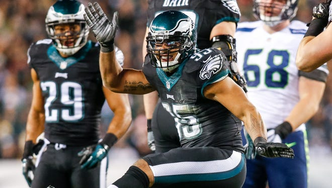Eagles inside linebacker Mychal Kendricks returned to practice for the first time since suffering a hamstring injury Oct. 4 against Washington.