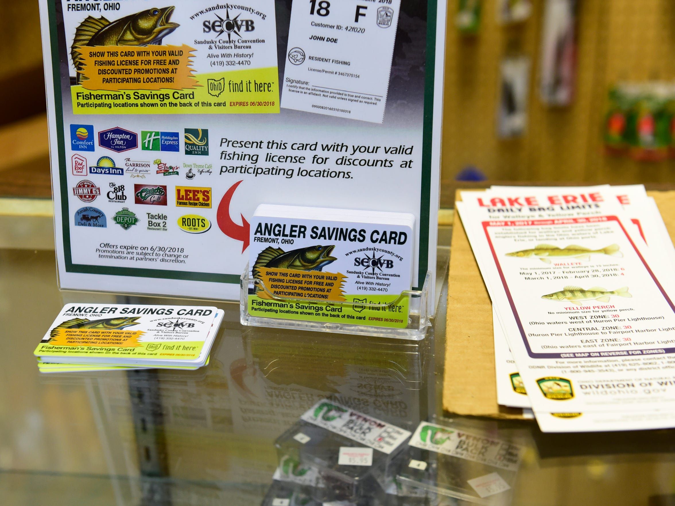 The Sandusky County Convention and Visitors Bureau is again offering Anger Savings Cards to fishermen who come to the area for the annual walleye and white bass runs.