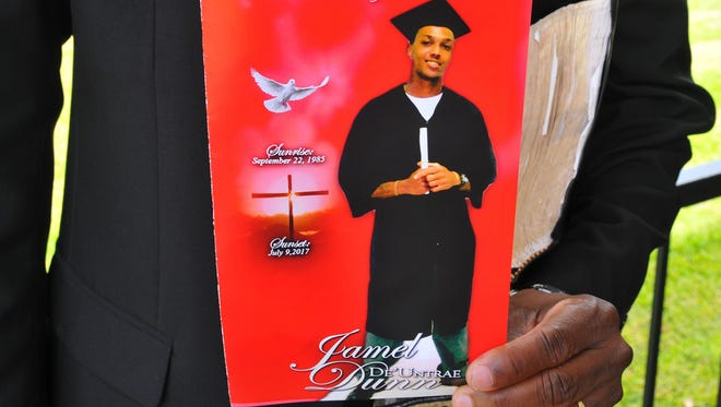 The cover of the funeral program for Jamel Dunn, who died July 9, 2017, at age 31, in a drowning that was captured on video.