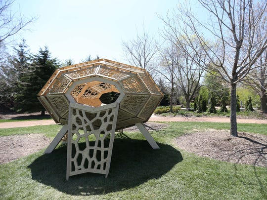 The Metaphotonic Pod tree house by Reinaldo Correa and Curt Engelhardt at Reiman Gardens in Ames on Tuesday, May 5, 2015. The house is inspired by the process of metamorphosis as well as the way light passes through a butterfly's wings.