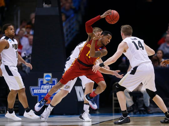 Iowa State's Monte Morris tries to pass the ball during the Iowa State men's basketball game against Purdue in the second round of the NCAA tournament on Saturday, March 18, 2017 at the BMO Harris Bradley Center in Milwaukee.