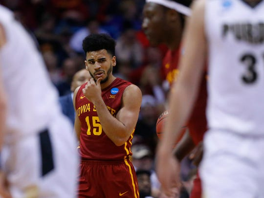 Iowa State's Nazareth Mitrou-Long reacts after being fouled on during the Iowa State men's basketball game against Purdue in the second round of the NCAA tournament on Saturday, March 18, 2017 at the BMO Harris Bradley Center in Milwaukee. The Cyclones lost to Purdue 80-76.