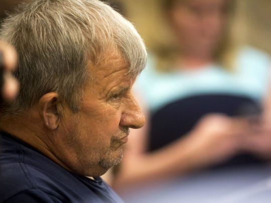 Leonard Manley, father of James Manley and Dana Rhoden Manley, sits in court Wednesday morning.
