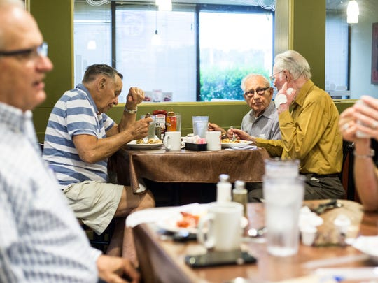 June 2, 2017 - Members of the Memphis for America club gather at Shoney's at the intersection of Summer and Sycamore View Road to talk about their upcoming flag sale. Memphis for America will be selling the flags at the intersection of poplar and Colonial the Saturday before the Fourth of July.