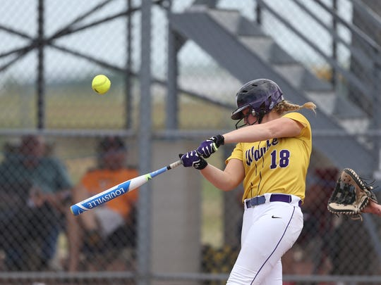 Waukee's Sarah Schaefer at bat during the Class 5A state softball game against Dowling Catholic and Waukee on July 18, 2017, in Fort Dodge.
