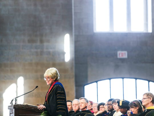 Dr. Marjorie Hass speaks during her inauguration in January as the 20th president of Rhodes College. (Brad Vest/The Commercial Appeal)