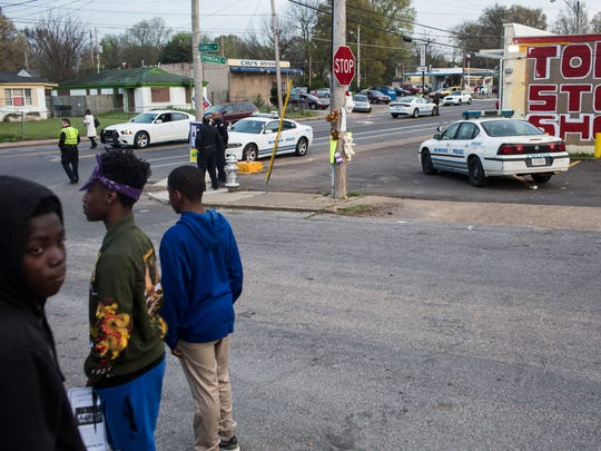April 02, 2018 - A crowd gathered Monday night near Top Stop Shop in North Memphis where a clerk is accused of fatally shooting 17-year-old Dorian Harris after he stole a beer. Fliers called for a boycott of the business.
