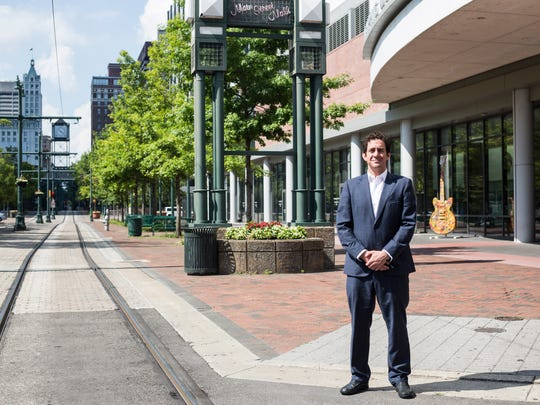 July 11, 2018 - Alex Tisch, Chief Commercial and Business Development Officer of Loews Hotels, stands outside of the Memphis Cook Convention Center.