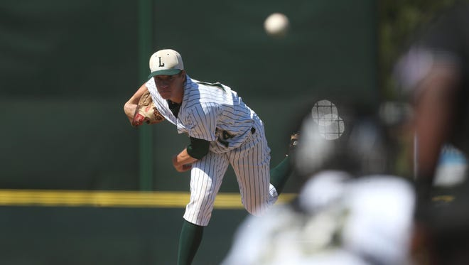 Lincoln's Austin Pollock, an FSU signee, pitches against Leon during their District 2-8A semifinal game Tuesday. Pollock threw a complete-game two-hitter in a 6-0 win.