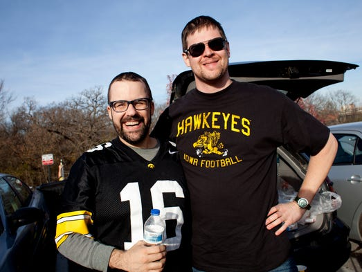 Dylan Does and Chris Alman tailgate before the Iowa