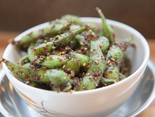 Steamed edamame with chills, lemon, olive oil and sea
