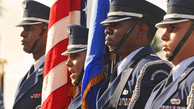 """""""Thank you for your service."""" Shown is the U.S. Air Force Honor Guard from Patrick Air Force Base."""