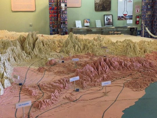 A topographical map illustrating the route of the Colorado River Aqueduct is on permanent loan-  from the Metropolitan Water District - at the General Patton Memorial Museum in Chiriaco Summit. April 28, 2016.