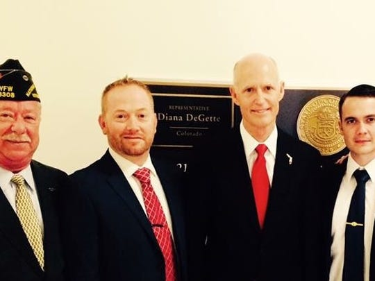 Mentor Mark Alvarez, Ryan McKibben and Ryan Taylor, Student Veterans from FSU with Gov. Rick  Scott.