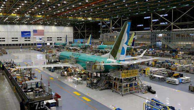The second Boeing 737 MAX airplane being built is shown Dec. 7, 2015, on the assembly line in Renton, Wash.