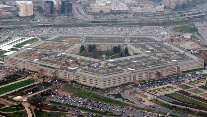 """The Pentagon in this aerial view in Washington. President Trump says he will bar transgender individuals from serving """"in any capacity"""" in the armed forces."""