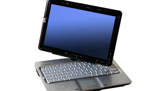 Laptop with blue screen