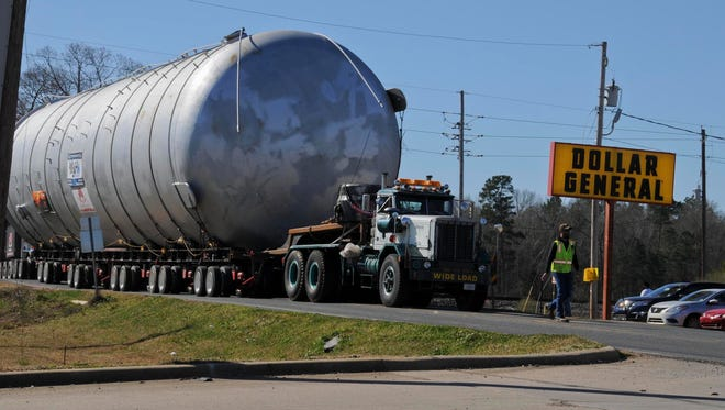 The contained burn chamber that will be used  to dispose of about 16 million pounds of M6 propellant and Clean Burning Igniter at Camp Minden makes its way through Haughton. It arrived in  Camp Minden on Thursday.